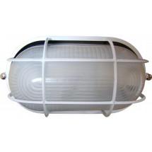 Светильник накладной Аско 0402 овальный 60W белый цвет IP 54 с решеткой