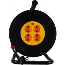 Удлинитель на катушке 30 метров/ 4 гнезда Z с заземлением медный провод ПВС 3*1,5 | кабель ПВС 3х1,5