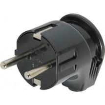 Вилка бытовая с з/к, 16А угловая черная s9100005 e.plug.angle.008.16