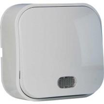 Выключатель 1-клавишный с подсветкой EVA HOROZ 112-002-0001 накладной белый цвет