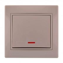 Выключатель 1-клавишный с подсветкой LEZARD MIRA 701-0303-111 кремовый цвет