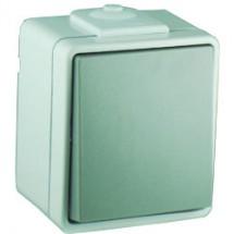 Выключатель 1-клавишный универсальный Hermetica 16000513 Hager / Polo накладной, серый цвет