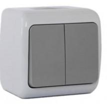Выключатель 2-клавишный Erste OUTDOOR IP54 E8005-02W накладной