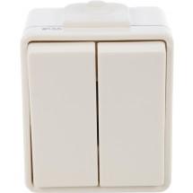 Выключатель 2-клавишный Hermetica 16000714 Hager / Polo накладной, серый цвет