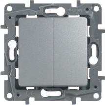 Выключатель 2-клавишный LEGRAND ETIKA 672402 алюминий