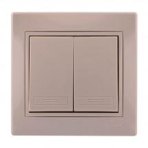 Выключатель 2-клавишный LEZARD MIRA 701-0303-101 кремовый цвет