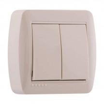 Выключатель 2-клавишный накладной LEZARD DEMET 711-0300-101 кремовый цвет