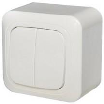 Выключатель 2-клавишный накладной LIREGUS ALFA IP20 белый PJ5 10-012 A/B