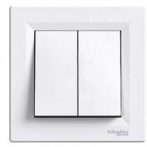 Выключатель 2-клавишный проходной ASFORA EPH0600121 белый цвет