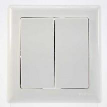 Выключатель 2-клавишный проходной белый цвет 2100-004-0201 GES
