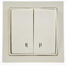 Выключатель 2-клавишный с подсветкой бежевый цвет 2100-026-0102 GES