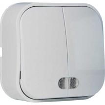Выключатель 2-клавишный с подсветкой EVA HOROZ 112-002-0002 накладной белый цвет