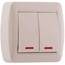 Выключатель 2-й накладной с подсветкой DEMET 711-0200-112 белый
