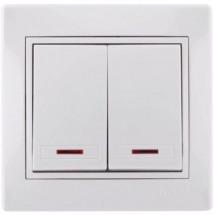 Выключатель 2-й с подсветкой MIRA 701-0202-112 белый