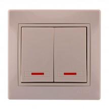 Выключатель 2-клавишный с подсветкой LEZARD MIRA 701-0303-112 кремовый цвет
