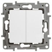 Выключатель 2-клавишный универсальный LEGRAND ETIKA 672212 белый