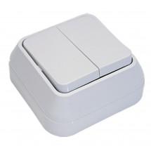 Выключатель MAKEL Siva Ustu 45103 2-х клавишный накладной белый цвет