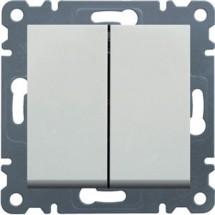 Выключатель универсальный 2-клавишный HAGER LUMINA-2 WL0050 белый цвет