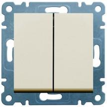 Выключатель универсальный 2-клавишный HAGER LUMINA-2 WL0051 кремовый цвет
