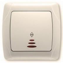 Выключатель 1-клавишный проходной с подсветкой Viko Carmen кремовый цвет