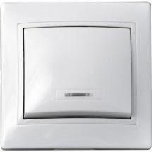 Выключатель 1-клавишный с подсветкой 10А ВВсб10-1-1-FI-W белый цвет Укрем АсКо