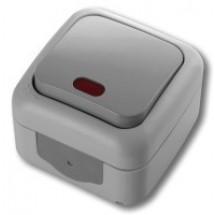Выключатель 1-клавишный с подсветкой накладной Viko Palmiye IP54 90555419
