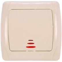 Выключатель с подсветкой Viko Carmen 90562019 1-клавишный кремовый цвет