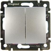 Выключатель 2-двухклавишный Legrand Valena 770105 алюминий 10А