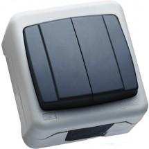 Выключатель 2-х клавишный MAKEL Nemliyer Plus IP55+ серый цвет 36064003