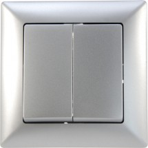 Выключатель 2-кл серебристый металлик Visage 1281500100103