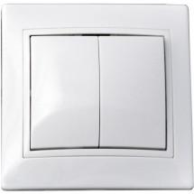 Выключатель 2-клавишный 10А ВВсб10-2-0-FI-W белый цвет Укрем АсКо