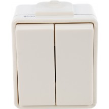 Выключатель двухклавишный Hermetica белый 116000702 Polo / Hager