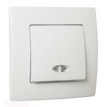 Выключатель 2-клавишный MAKEL Lilium Natural Kare 32001023 с подсветкой белый цвет двойной