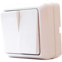 Выключатель 2-клавишный наружный 10А белый ВЗп 10-2-0 Сb-W АСКО