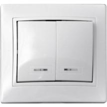 Выключатель 2-клавишный с подсветкой 10А ВВсб10-2-1-FI-W белый цвет Укрем АсКо