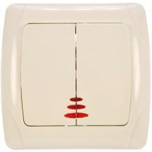 Выключатель 2-клавишный с подсветкой крем Viko Carmen 90562050