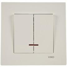 Выключатель 2-двойной с подсветкой Viko Karre 90960050 белый цвет