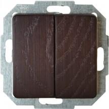 Выключатель 2-клавишный универсальный Milano-венге 6185.3708.2 серия Milano натуральное дерево
