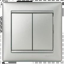 Выключатель 2-клавишный универсальный Legrand Valena 770108 алюминий