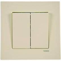Выключатель 2-клавишный Viko Karre кремовый цвет 90960102