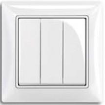 Выключатель 3-клавишный 10А ВВсб10-3-0-FI-W белый цвет Укрем АсКо
