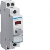 Выключатель Hager кнопочный обратный с красным индикатором 230В/16А, 1НВ+1НЗ, 1м SVN452