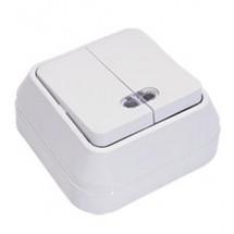 Выключатель Makel 45123 2-х клавишный наружный с подсветкой белый  цвет