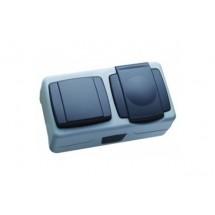 Выключатель + розетка с крышкой MAKEL Nemliyer Plus IP55+ 36064202 серый цвет