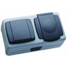 Выключатель+розетка с крышкой MAKEL Nemliyer Plus IP55 36064202 накладные серый цвет