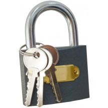 Замок навесной 75мм 70-004. Закрывается без помощи ключа. В комплекте три ключа.